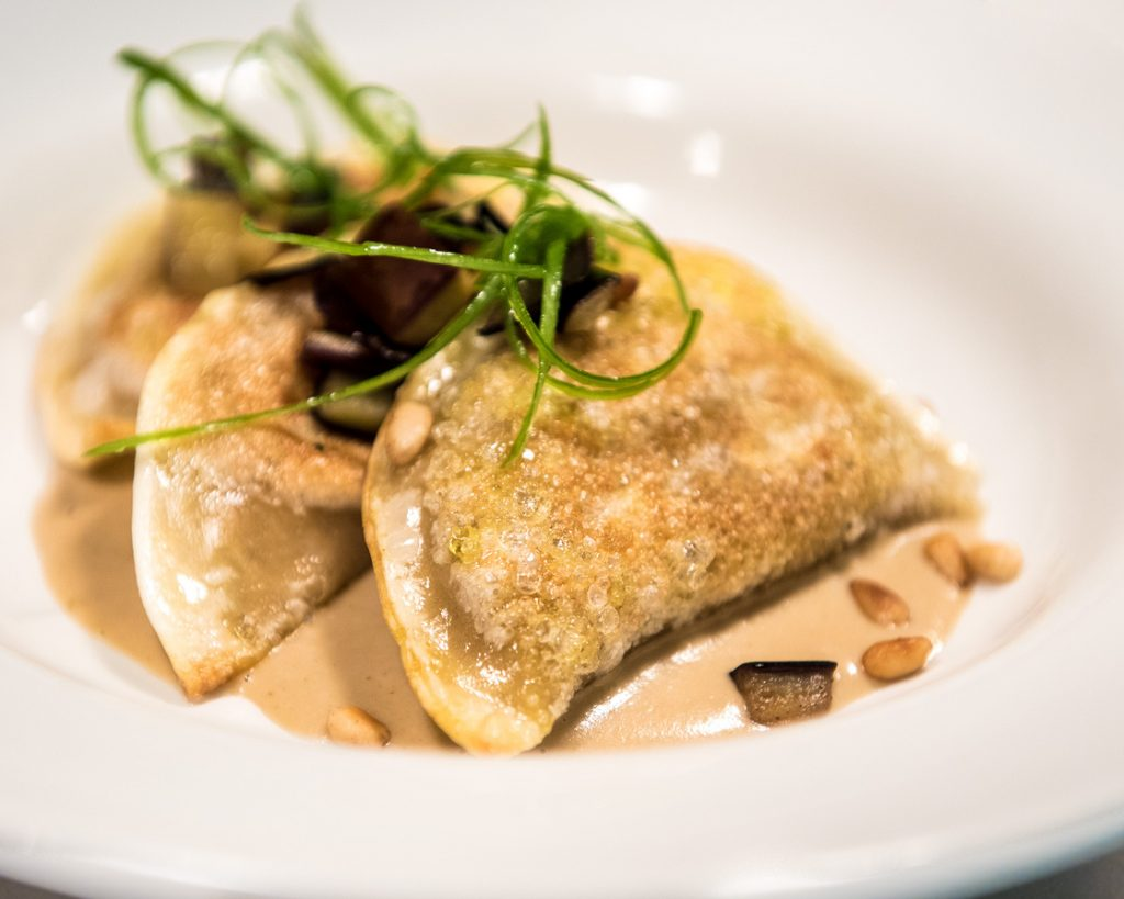 Simply the best- Aubergine Dumplings, Spring Onion, Pine Nut Thai Curry (Photo: Julia Claxton)