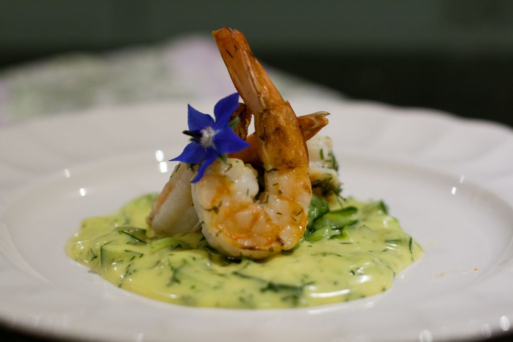 Grilled Prawns with Cucumber Hollandaise