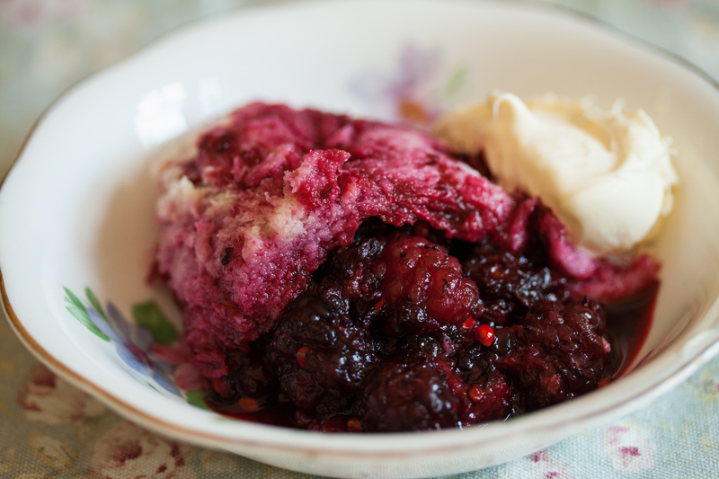 A portion of mulberry summer pudding